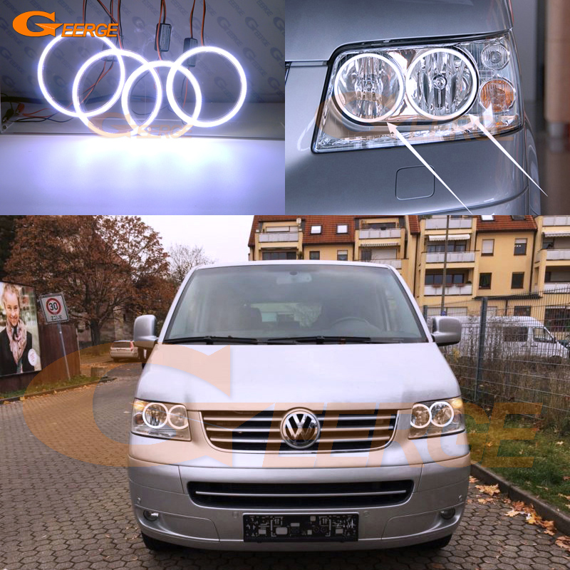 цена на For Volkswagen VW Transporter Caravelle T5 2003-2009 Excellent Ultra bright illumination COB led angel eyes kit