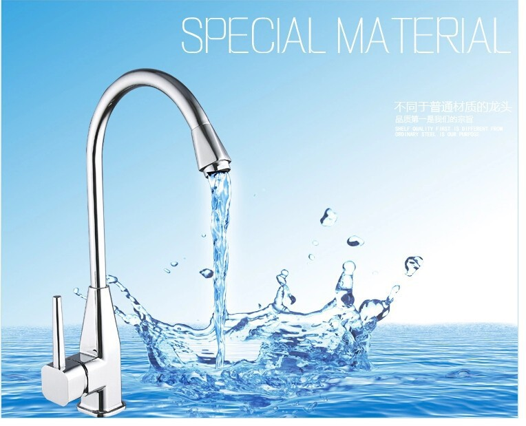 fashion High quality chrome finish single lever brass hot and cold kitchen faucet with rotating pipe