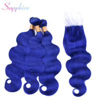Sapphire Peruvian Body Wave Remy Blue Color Closure 4*4 Part Lace Closure With 3 Bundles Human Hair Weaves