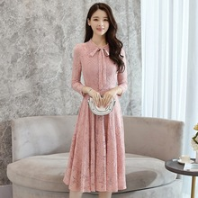 Hot Sale Womens Spring Summer Lace Dress Vintage Bow Long Sleeve Slim Sexy A-line Vestidos Party Pink Dresses