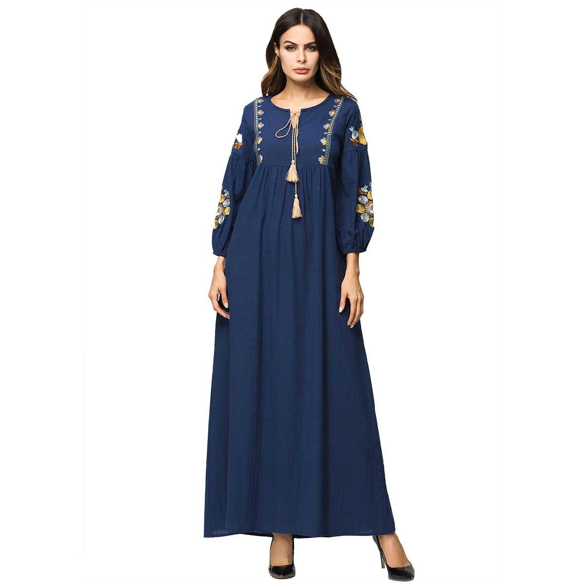 2019 Autumn Embroidery Ethnic Women Maxi Dress Patchwork Draped Dress Long Sleeve Tassel Vestidos De Fiesta Casual Wear VKDR1654