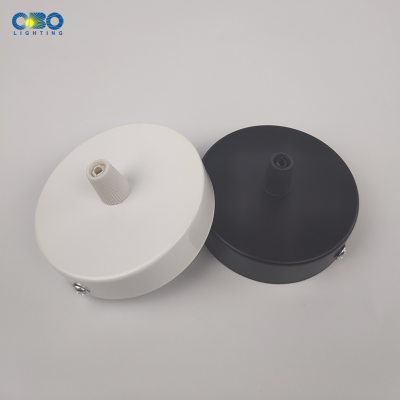 Black/White 80MM Ceiling Plate Iron Pendant Lamp Bases DIY +Lock Wire Rubber Well Lamp Round 8CM Base