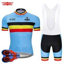 طقم ملابس جيرسي لركوب الدراجات البلجيكية من Crossrider موضة 2020 ملابس دراجة موحدة من نسيج شبكي يسمح بالتهوية ملابس رجالية قصيرة