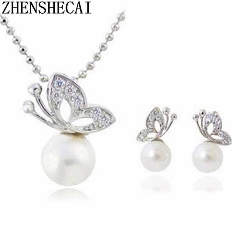 Hot Fashion Silver color Butterfly jewelry set Pendants Chain Necklaces For Women Jewelry Accessories Wholesale Bijoux Necklace