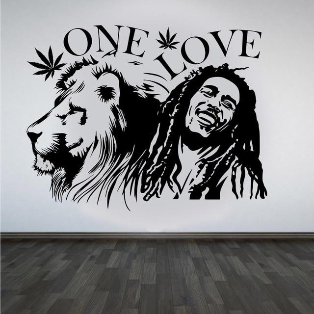 Adesivi Murali Bob Marley.Adesivi Murali Bob Marley Lion Zion One Love Marijuana Preventivo