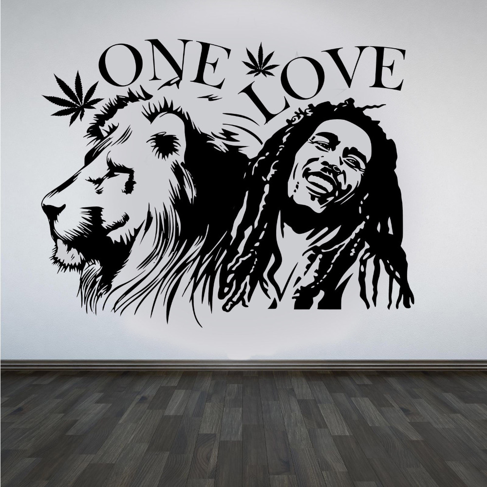 "afishe muri Bob Marley Lion Sion ""ONE LOVE"" Marijuana Quote Wall Art Sticker / Decal / Mural Vinyl Removable Mural i papërshkueshëm nga uji Mural A247"