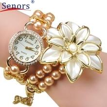 Important Sizzling Sale Luxurious Pearl Strap White Flower Bracelet Quartz Wristwatches Ladies Gown Watches Montre Femme Clock Feminine
