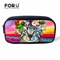 Cute Cat Pencil Bag for Boys Girls Children School, Beauty Animal Printing Cosmetic Box Makeup Case Travel Organizer Neceser