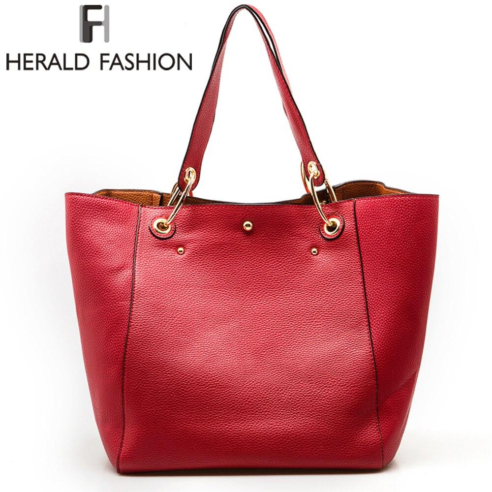 Herald Для женщин сумки Высокое качество из искусственной кожи Сумки на плечо Твердые дизайнер Сумки большой Ёмкость Повседневное Tote композит...