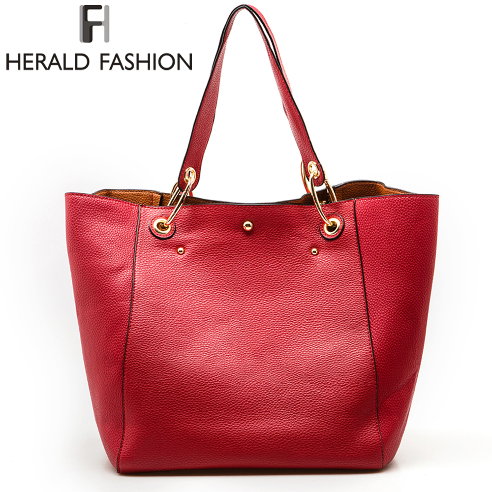 Herald Women Handbag High Quality PU Leather Shoulder Bags Solid Designer Handbags Large Capacity Casual Tote Composite Bag reprcla brand designer handbags women composite bag large capacity shoulder bags casual ladies tote high quality pu leather page 6