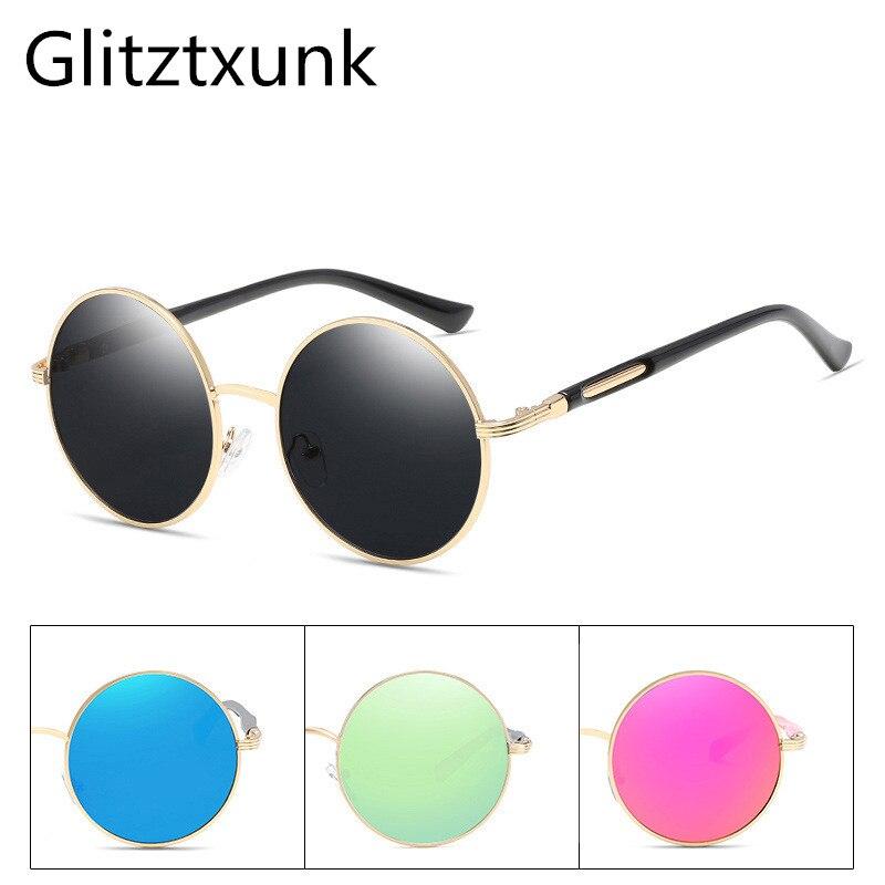 Glitztxunk Sunglasses Women Vintage Designer Luxury Men Brand Round Mirror Gafas-De-Sol