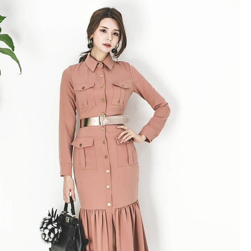 Automne hiver robe 2018 style coréen vêtements d'affaires robe pour femmes bureau dames robe sociale pour le travail KK2484