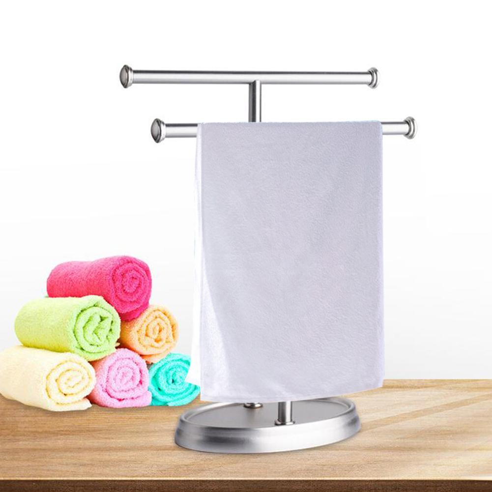 High Quality Stainless Steel Hotel Household Towel Rack Movable Towel Bars Bathroom Products Double Pole Bathroom Towel Rack