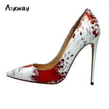 Ladies Pointed Toe High Heels PU Pumps Red dots Aiyoway Sexy Women Shoes Party Wedding Autumn Spring Slip-On White