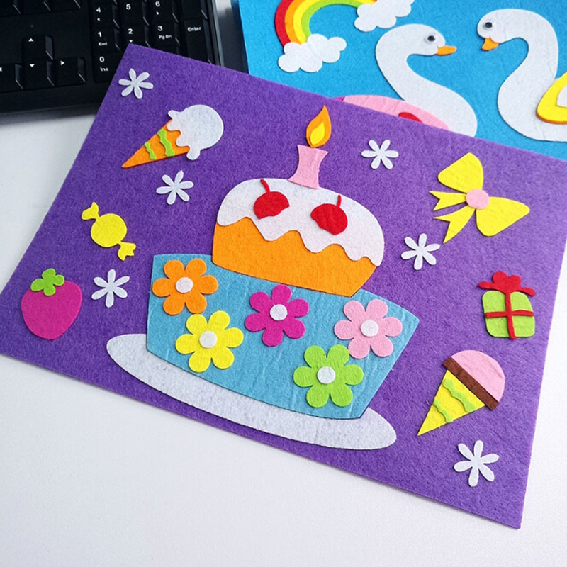 1 Set Children Cartoon DIY Sticker Toys Non-Woven Felt Collage Cute Swan Frog Duck Craft Decoration Stickers Educational Gifts(China)