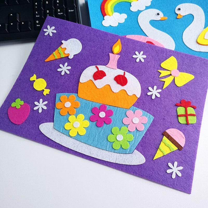 1 Set Children Cartoon DIY Sticker Toys Non-Woven Felt Collage Cute Swan Frog Duck Craft Decoration Stickers Educational Gifts