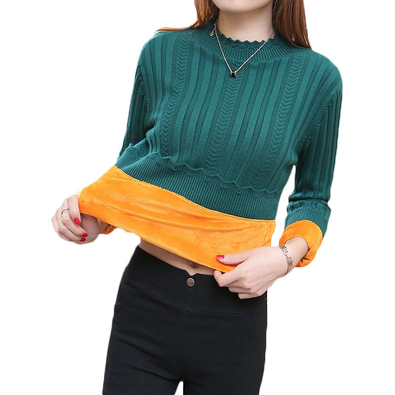 Autumn Winter Plus Velvet Thick Short Pullover Sweater Female 2018 New Solid Color Large Size 5XL Women Warm Knit Sweater LQ500