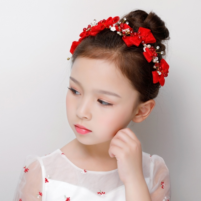 190874f7900f7 Red Lace Bowknot Headband Simulated Pearls Hair Accessories for Wedding  Flower Girls Headpiece Teens Pageant Prom