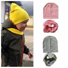 2 unids set primavera otoño bebé sombrero de la bufanda de Color sólido gorras  para niños niñas de algodón de punto Beanie bufan. c1b71be891b