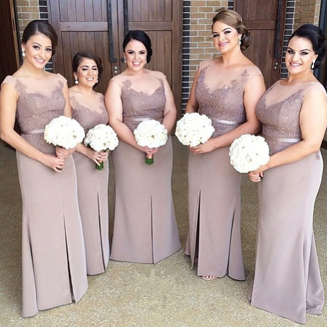 Elegant Satin Lace Bridesmaid Dresses Pretty Light Purple Lilac Dress Sheer Wedding Party