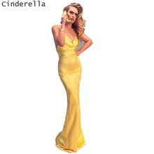 Cinderella V-Neck Spaghetti Straps Backless Mermaid Silk Satin Evening Dresses Open Back Sweep Train Button