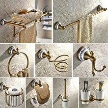 цена Antique Brass Porcelain base Bathroom Hardware Towel Shelf Towel Bar Paper Holder Cloth Hook Bathroom Accessories KD975 онлайн в 2017 году