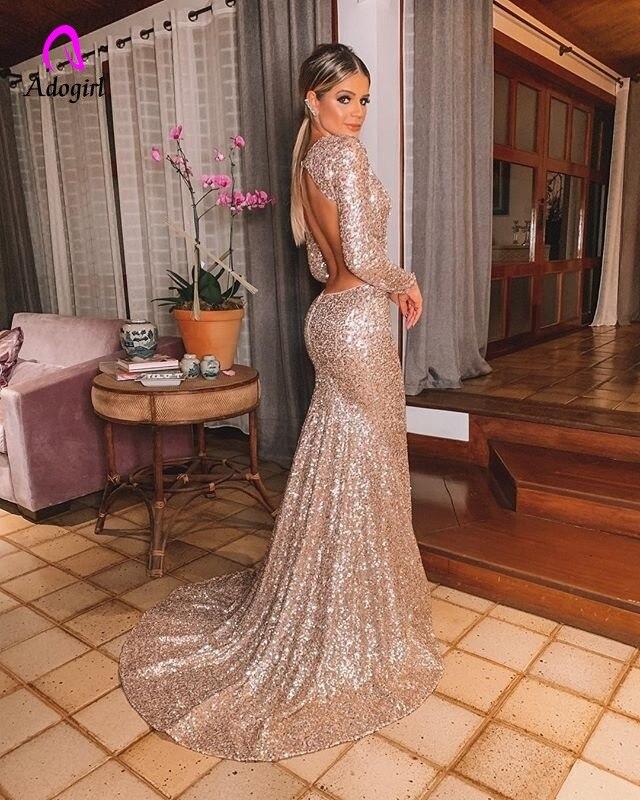 Image 5 - Elegant Long Rose Gold Sequin Evening Party Dress Vestido De  Festa Robe Long Sleeve Gowns Formal Party Dress Reflective  DressDresses