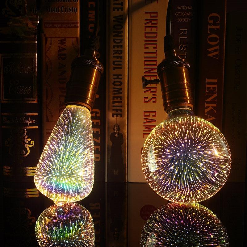 Firework Novelty Lamp 220V Led Light Bulb E27 3D Decoration Bulb ST64 G95 G80 G125 A60 Bottle Heart Holiday Lights