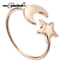 Cxwind Hot Crescent Moon Star Rings for Women Fashion Adjustable Rings BFF Ring Couple Rings Party Gift Jewelry anillos mujer(China)
