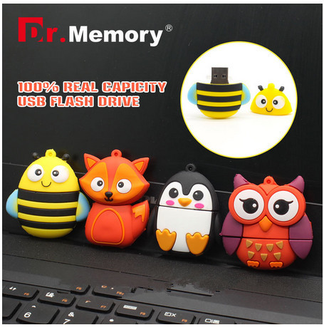 32GB Cartoon usb flash drive Bee/Penguin/Fox/Red Owl USB Flash Drive 64gb 8gb 16gb Flash Drive U Disk