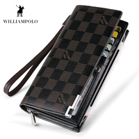 WilliamPOLO Genuine Leather Wallet Men Purse Long Luxury Brand Men Clutch Wallet Phone Case Hand Strap Black PL129A