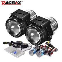 RACBOX 2,5 дюймов противотуманная фара полностью Металлическая линза проектора 55 Вт AC Быстрый старт Балласт H11 ксеноновая лампа 4300K 6000K 8000K комплект для модернизации автомобиля