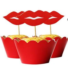 120pcs Women Red Lip cupcake wrappers toppers picks for bride wedding decoration party supplies cake accessory wholesale(China)
