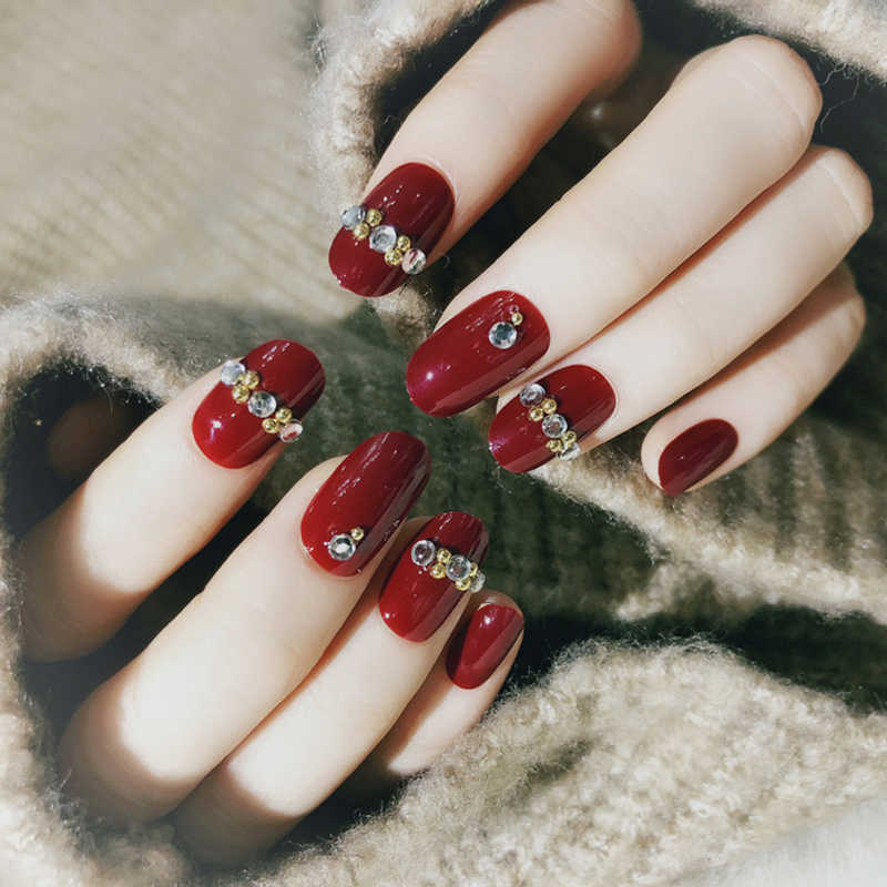 24pcs Acrylic Red Fake Nails Ultra Long Square Inlaid Diamonds Finger Nails Diamond Shape 3D Nail Art Tips with Glue Sticker