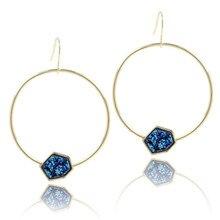 Fashion Earrings Women 2019  Round Loop Statement Earring for Jewelry Trendy Blue Druzy Charm Drop Pendant