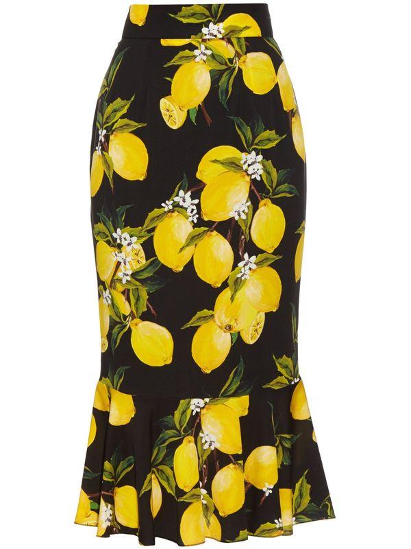 2bad850ed434 Customize Made Women Runway Fashion Bodycon Plus Size 3XS-10XL High Waist Lemon  Print Chiffon
