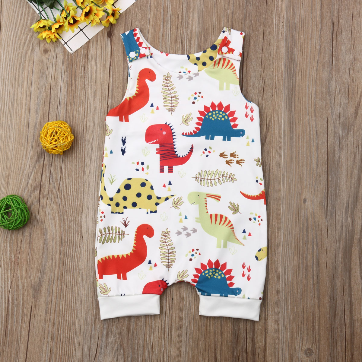 Pudcoco Newborn Baby Boy Girl Clothes Cute Dinosaurs Print Sleeveless Romper Jumpsuit One-Piece Outfit Sunsuit