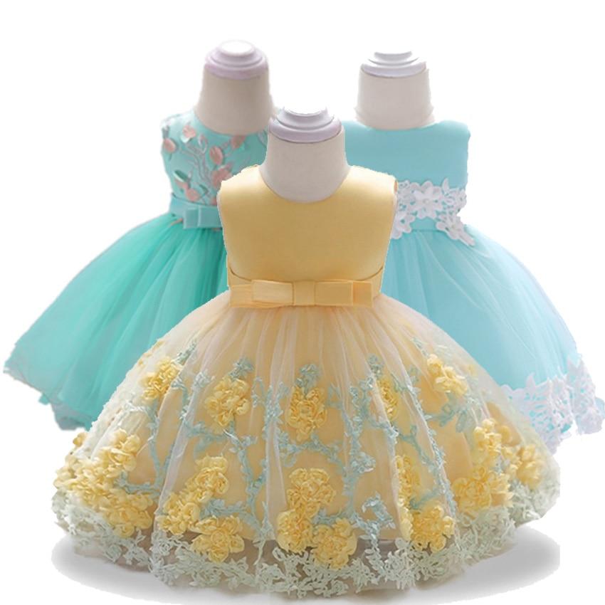 Flor Recién Nacido Bebé Niñas Vestidos De Bautismo Para 3 6