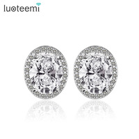 Teemi Genuine 925 Pure Sterling Silver Imitated Diamond Wedding Engagement CZ Stud Earrings For Women Girl