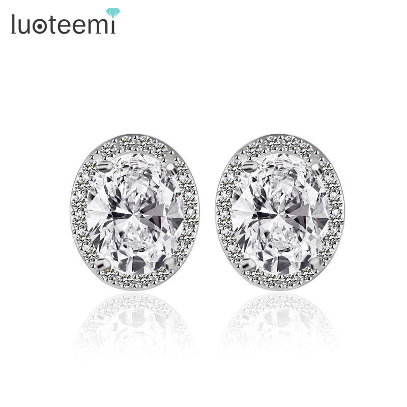 LUOTEEMI S925 Pure Sterling Silver Shining Zircon Wedding Engagement CZ Stud Earrings For Women Girl Fashion Jewelry Gift