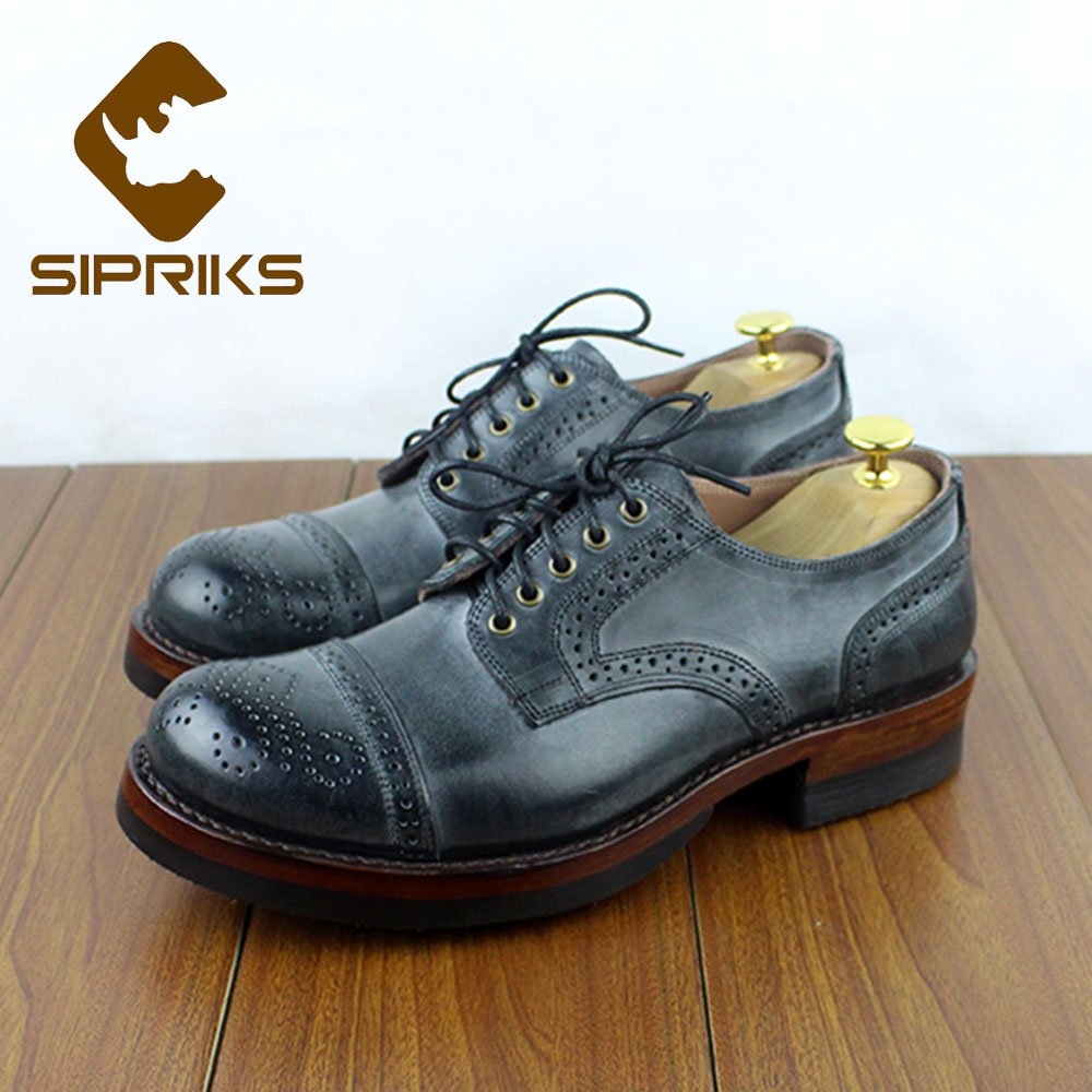 Sipriks Luxury Brand Mens Goodyear Welted Shoes Retro Classic Brogue Dress Oxfords Add Thick Non Slip