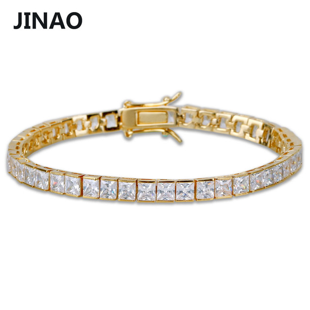Jinao 1 Row 6mm Hip Hop Bracelet Gold Silver Plated Micro Pave Aaa Cubic Zirconia Iced