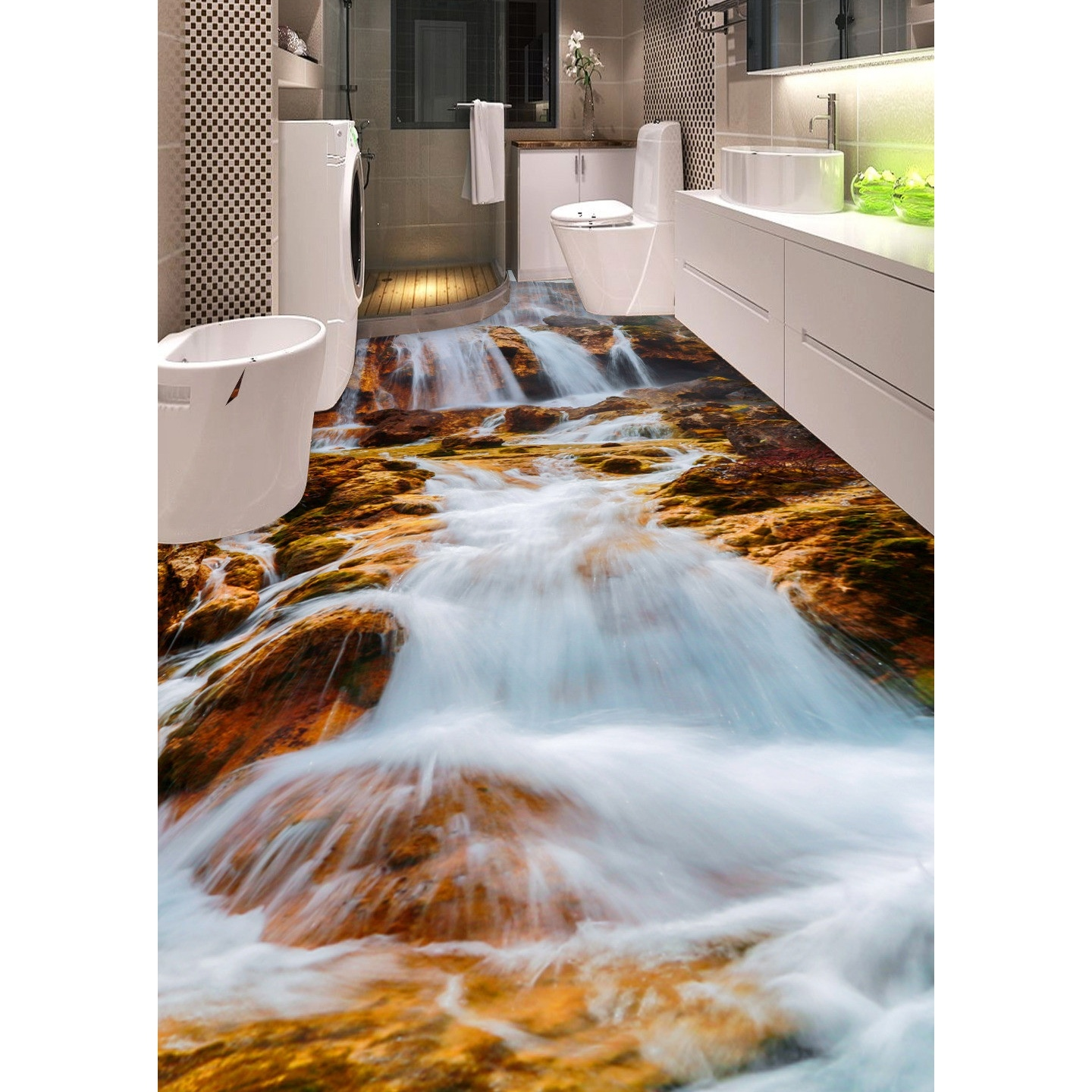 3d pvc flooring custom wall sticker 3d mountain stream for Floor stickers
