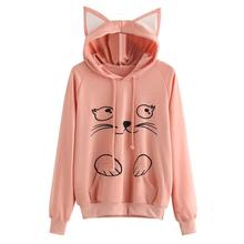 Cute Kitty face Women's Hoodie Gift for Cat Lovers