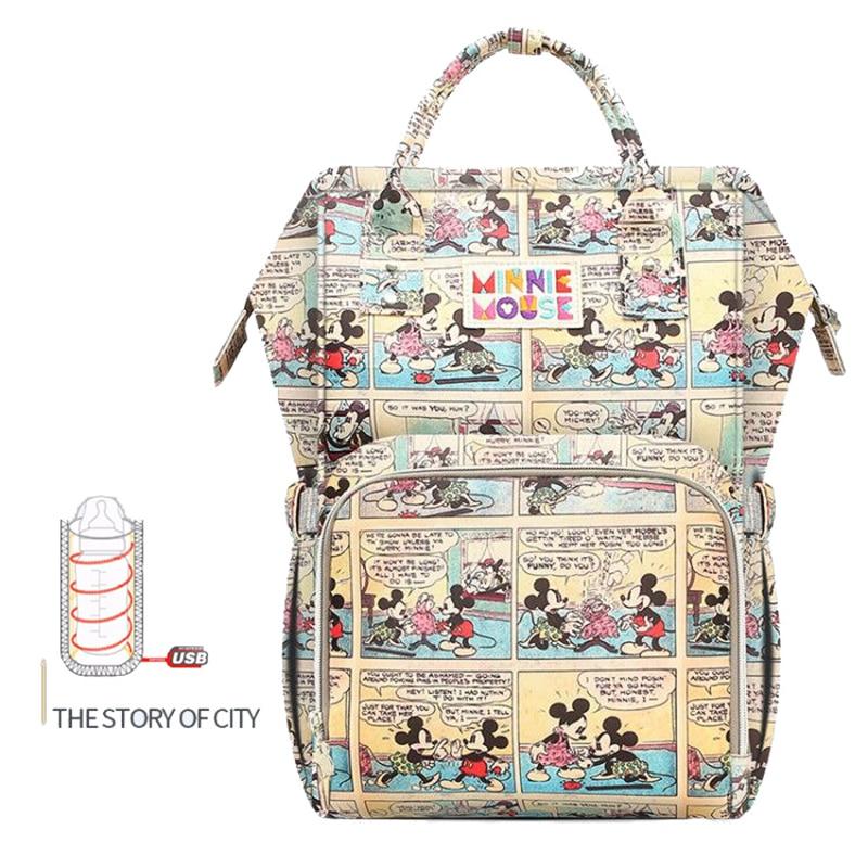 Disney большой Ёмкость USB Ткань Оксфорд изоляции мешки История города кормление из бутылочки сумка для хранения Водонепроницаемый пеленки сум...