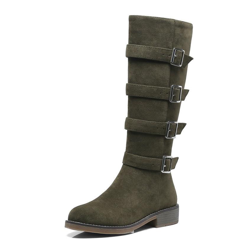 Zapatos Hasta Negro verde La Nubuck Rebaño Tamaño 34 Plataforma Rodilla Invierno De Botas marrón Mujer Eokkar 2019 Mujeres Cuadrado 43 Negro Tacón qwXSp1zx