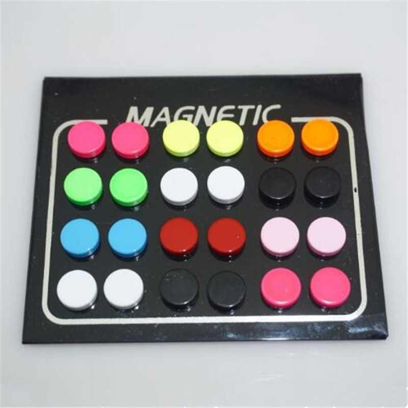 24pcs/lot 6/8/10mm Round Colorful Magnet Stud Earring Puck Women Mens Magnetic Fake Ear Plug Ear Jewelry