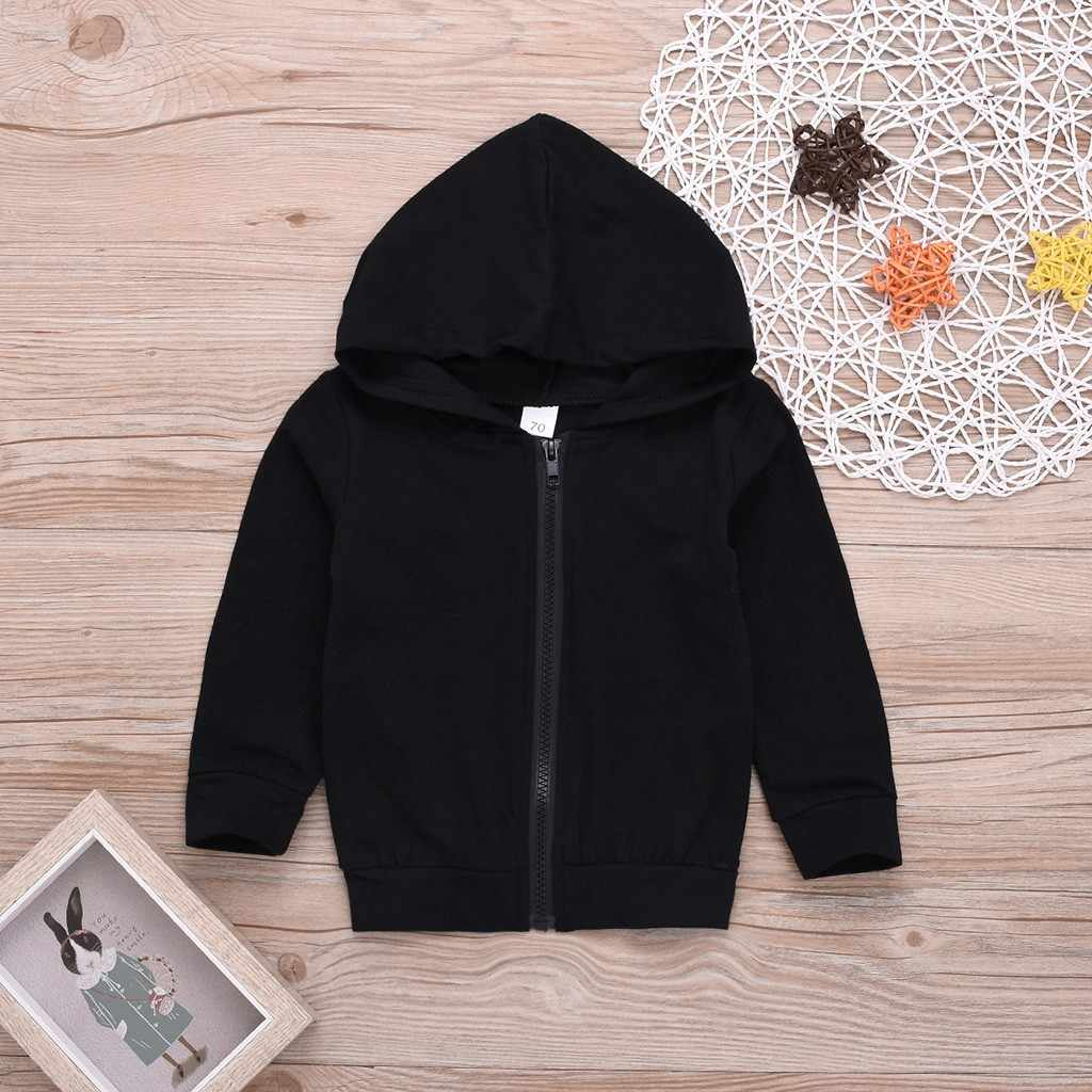 Toddler Kids Baby Boys Girls Long Sleeve Zipper Letter Hooded Sweatshirt Tops Girls T-Shirt Children's Clothes Fille Baby Cloth