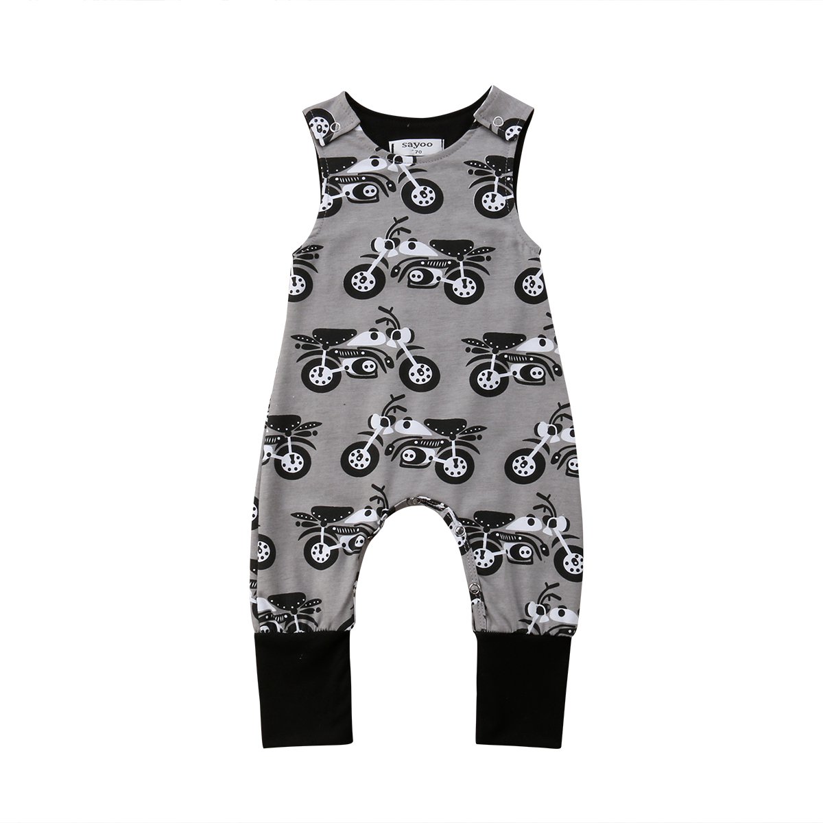 Baby Boy Kids Newborn Infant Motorcycle Print   Romper   Sleeveless Jumpsuit Sunsuit Cotton Clothes Outfits