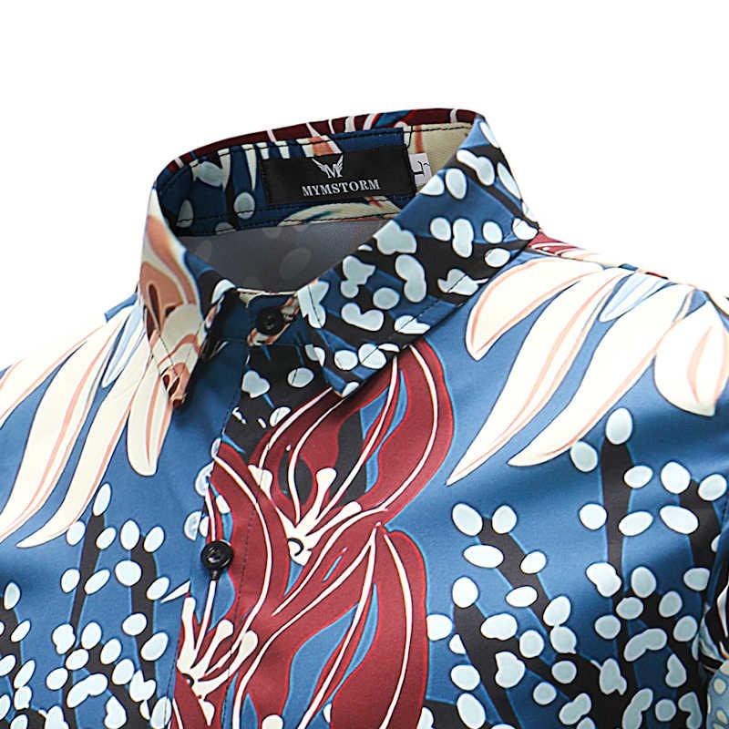 Модные Цветочный гавайская рубашка Для мужчин Slim Fit с длинным рукавом рубашка 2018 Демисезонный Повседневное бренд рубашки мужской Chemise Homme 4XL